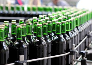 Wine bottles on conveyor